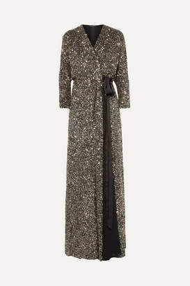 Jenny Packham Ada Sequined Georgette Wrap Gown - Metallic