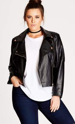 City Chic Black Zip Biker Pleather Jacket Size 14/X-Small Polyester/Leather