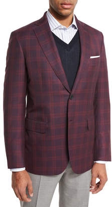 Brioni Plaid Two-Button Sport Coat, Red/Navy