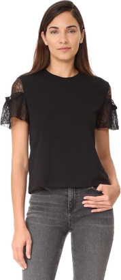 McQ - Alexander McQueen Lace Sleeve Top $225 thestylecure.com