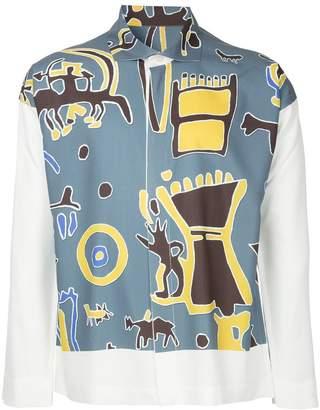 Issey Miyake Homme Plissé ancient art print shirt