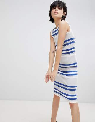 Paisie Fine Knit Ribbed Midi Dress with Round Neck
