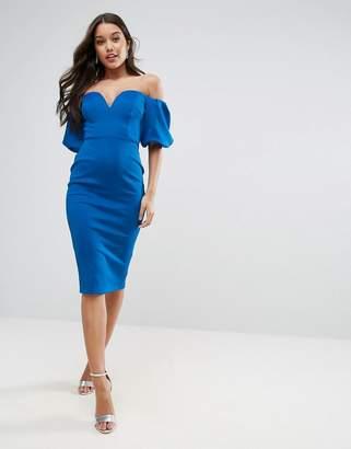 ASOS Scuba Puff Sleeve Bardot Midi Dress $76 thestylecure.com