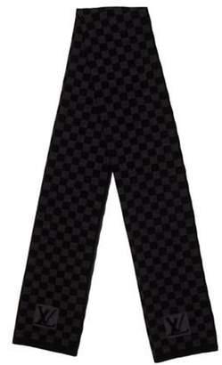 Louis Vuitton Petit Damier Wool Scarf black Petit Damier Wool Scarf
