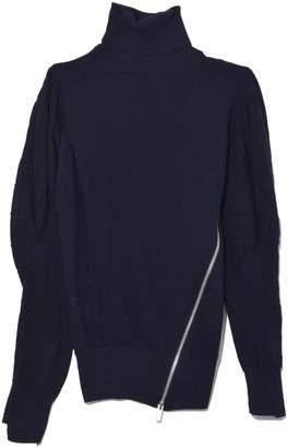 Sacai Zip Knit Turtleneck Long Sleeve Top in Navy