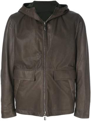 Bottega Veneta espresso lamb dark moss nylon reversible jacket