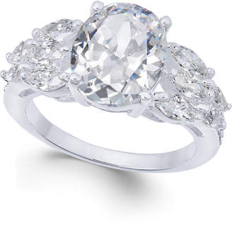 Charter Club Silver-Tone Triple-Cubic Zirconia Ring, Created for Macy's