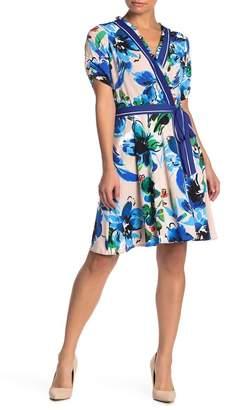 ECI Floral Print Wrap Style Dress