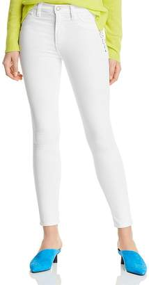 Hudson Barbara High-Rise Ankle Skinny Lace-Up Jeans in White