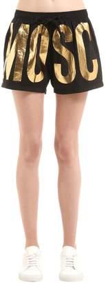 Gold Logo Print Nylon Swim Shorts