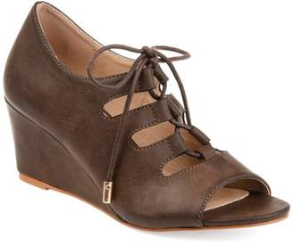 Co Brinley Womens Faux Leather Lace-up Open-toe Wedges