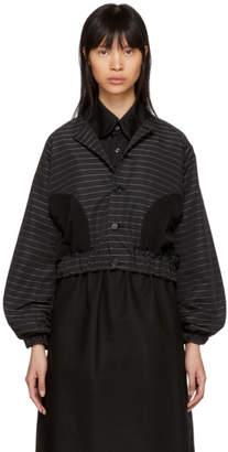Noir Kei Ninomiya Black Pinstriped Button-Up Jacket