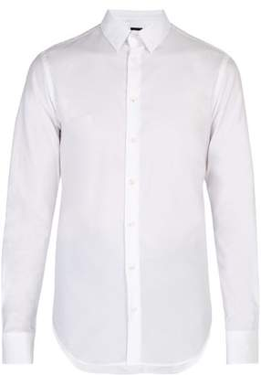 Giorgio Armani Logo Jacquard Cotton Shirt - Mens - White
