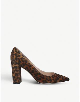 Gianvito Rossi Leopard-print suede block-heel courts