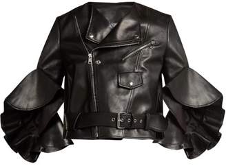 Alexander McQueen Ruffled Cropped Leather Jacket - Womens - Black