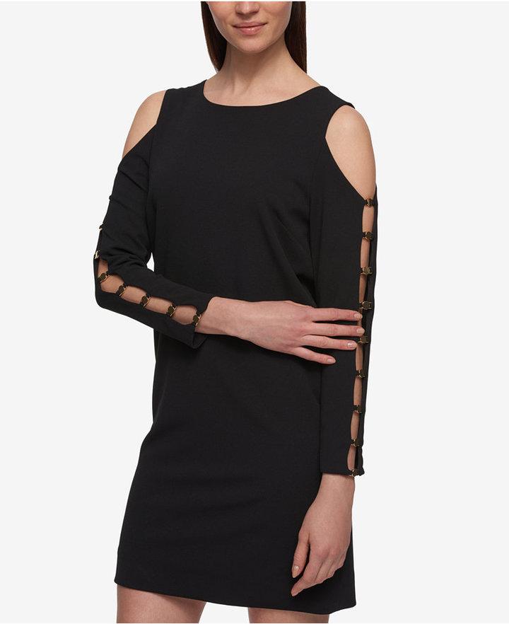 DKNYDKNY Ladder-Trim Cold-Shoulder Shift Dress