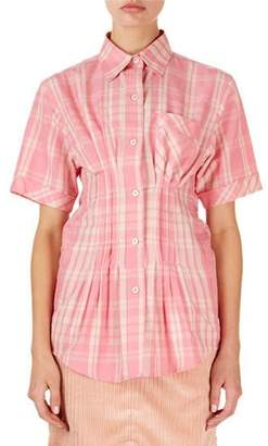 Isabel Marant Emily Short-Sleeve Corseted Plaid Blouse