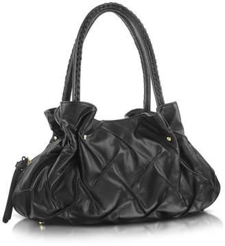 Fontanelli Pleated Nappa Leather Satchel Bag