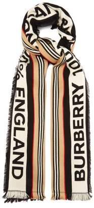 Burberry Striped Logo Cotton Scarf - Mens - Black Multi