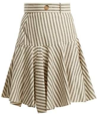 Loewe High Rise Striped Fluted Hem Skirt - Womens - Grey Stripe