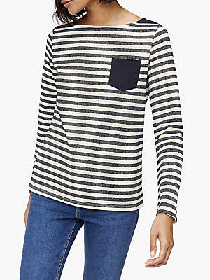 Warehouse Pocket Stripe Jumper, Blue/Cream