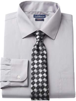 Croft & Barrow Men's Slim-Fit Stretch-Collar Dress Shirt and Patterned Tie