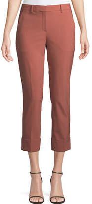 Theory New Stretch-Wool Crop Cuff Straight-Leg Pants