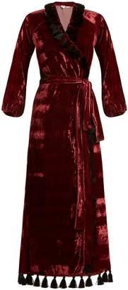 RHODE RESORT Jagger tassel-trimmed velvet wrap dress