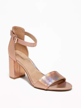 Old Navy Metallic Faux-Leather Block-Heel Sandals for Women