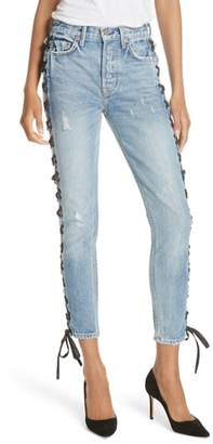 GRLFRND Karolina High Waist Lace-Up Crop Skinny Jeans