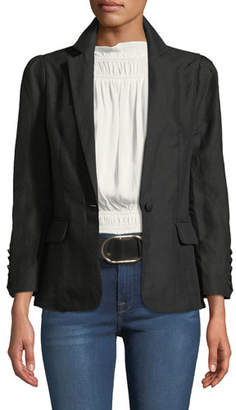 Frame One-Button Pleated Linen Blazer