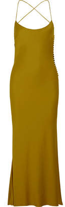 Khaite - Margot Open-back Satin-crepe Maxi Dress - Brass