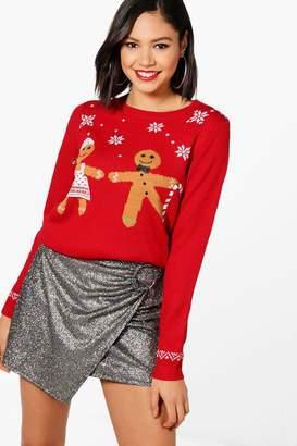 boohoo Sequin Gingerbread Christmas Jumper