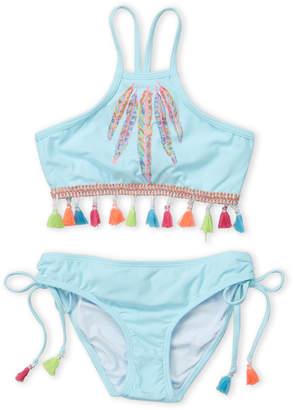 Pilyq Girls 7-16) Two-Piece Feather Embroidery Halter Bikini