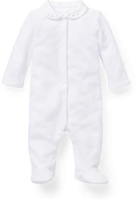 Ralph Lauren Childrenswear Pater Pan-Collar Footie Pajamas, Size 3-9 Months