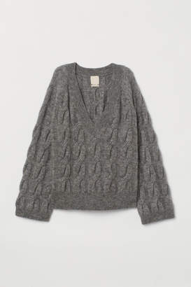 H&M Cable-knit Wool-blend Sweater - Gray
