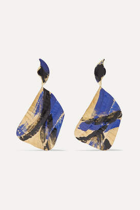 Peet Dullaert - Joshua Osborn Ciel Gold-plated And Enamel Earrings - Blue