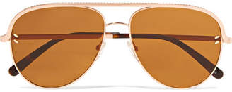 Stella McCartney Aviator-style Rose-gold-tone And Acetate Sunglasses - Pink