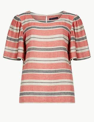 Marks and Spencer Linen Rich Striped Short Sleeve Blouse