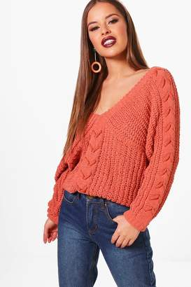 boohoo Petite Lace Up Sleeve Cable Knee Jumper