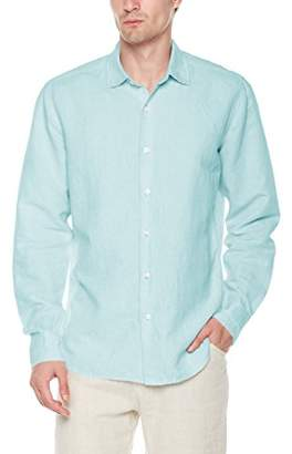 Isle Bay Linens Men's Linen Cotton Blend Long Sleeve Woven Casual Shirt Slim Fit Chambray Blue Lake