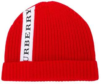 Burberry logo stripe knitted beanie