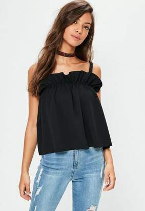 Missguided Black Gathered Cami Tank Top Top