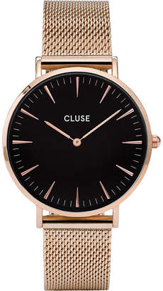Cluse CL18113 La Bohème rose gold and stainless steel mesh watch