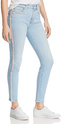 7 For All Mankind High Rise Pink Fringe Ankle Skinny Jeans in Sky High Blue