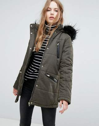 New Look Faux Fur Trim Parka Coat