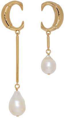 Chloé Gold Pearl Asymmetric C Earrings