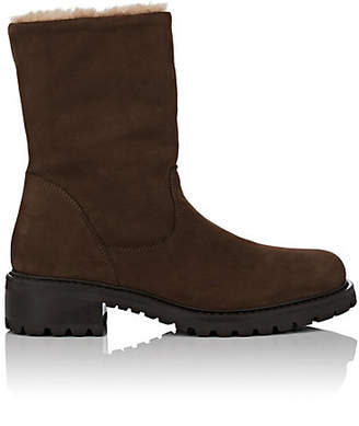 Barneys New York Women's Shearling-Lined Nubuck Ankle Boots - Brown