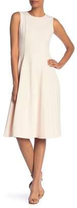 Modern American Designer Solid Fit & Flare Midi Dress