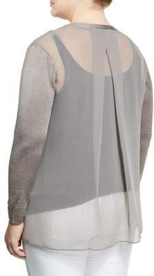Nic+Zoe Plus Chiffon-Back Lightweight Cardigan, Plus Size